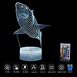 ZD Bright 3D-Lampe USB Power 7 Farben Erstaunliche Optische Illusion LED Nachtlicht Kids Schlafzimmer (Hai)