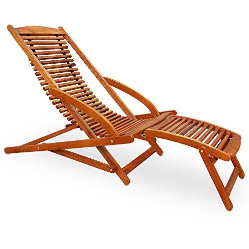 Deuba Sonnenliege | Akazienholz | Klappbar | inkl. Kopfkissen | Ergonomisch | Gartenliege Sunlounger Liegestuhl Holzliege