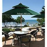 Invezo Impression Luxury Garden Umbrella Wooden Center Pole Patio Umbrella 9 Ft Diameter Green Color With Base - Garden Umbrella / Outdoor Umbrella