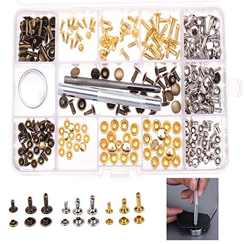 Leder-nieten-cap (ChaRLes 138Pcs Single Cap Rivets Tubular Studs Fixing Tool Für Leder Handwerk Werkzeug)