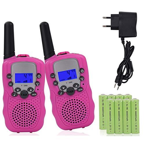 Miavogo 2 x Walkie Talkie Set für Kinder PMR Funkgerät mit LC-Display + Taschelampe - Reichweite bis zu 3 Km, Rosa