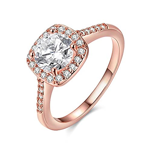Amour Eternel Bague Femme 18K Or Plaqué Zircon Cubique Diamant Bague de Fiançailles Bague d'anniversaire Alliance de Mariage, Rose Gold , 5