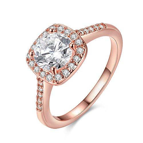 Diamant Ringe 7 Frauen Für Größe (Frauen 18K Weiße/Rosa/KC Gold Gepanzerte Kubik- Zirkonoxid-Kristalle Zirkonia Diamant Verlobungsringe Beste Versprechungsringe Hochzeit-Jubiläumsfeiersringe für das Damenmädchen, , Rose Gold , 7)
