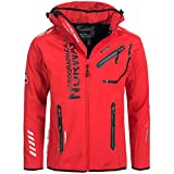 Geographical Norway Hombre Chaqueta Outdoor Softshell Rainman Turbo de Dry Capucha Rojo S