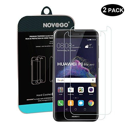 Novago Compatible avec Huawei P8 Lite 2017, Honor 8 Lite 2017 Lot de 2 Films Verre trempé Protection écran résistant Anti Casse de l'écran (Films Plus Petits Que l'écran)