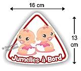 Jumelles à bord Fille / Fille - Sticker Autocollant Jumeaux bébé à bord modèle 3