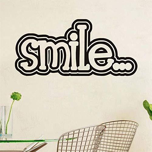 Sorriso Inspirational Proverbi Citazione Adesivi murali Carta da parati in vinile Arte Murale Decalcomania Baby Girl Camera da letto per bambini Decorazione domestica Giallo 58 * 27cm
