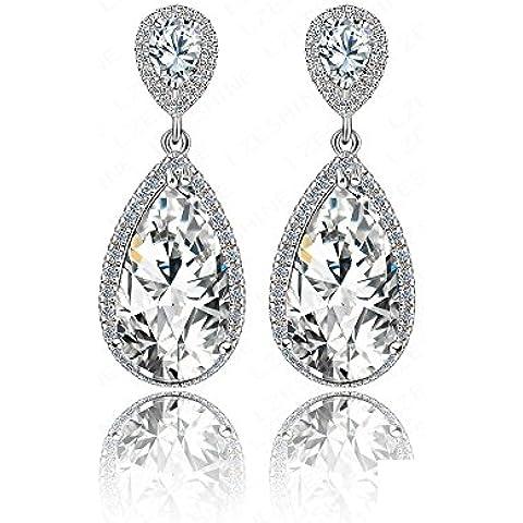 vycloud (TM) classico elegante orecchini pendenti forma a goccia orecchini da donna di diamante con zirconi AAA per Festa di nozze cer0013-b