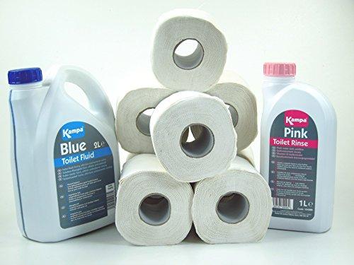 Sanitärflüssigkeit Chemietoilette Set inkl. 8 Rollen WC Spezial-Papier
