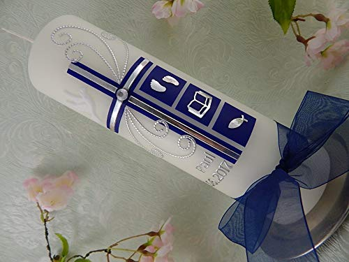 Taufkerze Kreuz dunkelblau silber Symbole Taufkerzen Junge Mädchen 250/70 mm mit Name und Datum