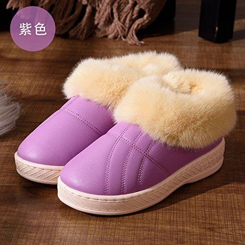 DogHaccd pantofole,Inverno pelle pu alta per aiutare uomini e donne rimanere impermeabile home paio di pantofole di cotone confezione con spesse, antiscivolo indoor scarpe di cotone La porpora2