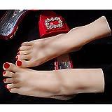DAYYN 1 Paar EU36 Silikon Mädchen Mannequin Fuß Display Kristallhalskette Strasssteinherzen Sandale Schuh Socke Display Art Sketch