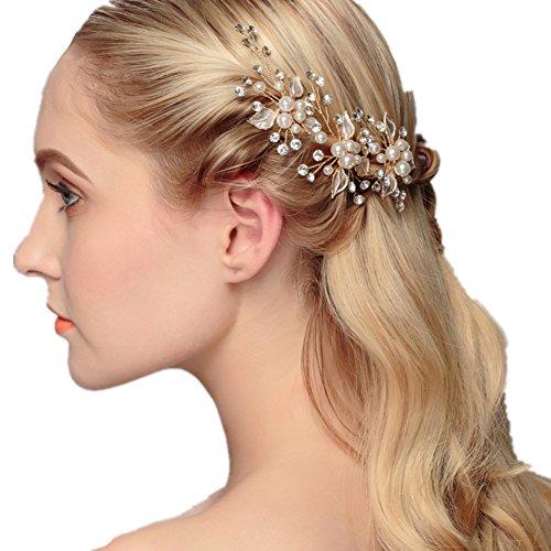 LIHI Damen Vintage Exklusive Perle Blatt Braut Haarbänder Stirnband Haarschmuck Hochzeit Haar wrap