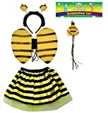 Ladies ANIMAL FANCY DRESS TUTU with EARS BOW TAIL SET for Halloween, Hen Party Fancy Outfit Tutu Skirt by Lizzy® (Bumble Bee Tutu Costume)