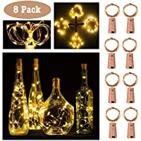20 LED Wine Bottle Cork Lights Copper Wire String Lights, 2M/7.2FT Battery Operated Wine Bottle Fairy Lights for Bottle DIY, Christmas, Wedding and Party Décor (8 Packs)