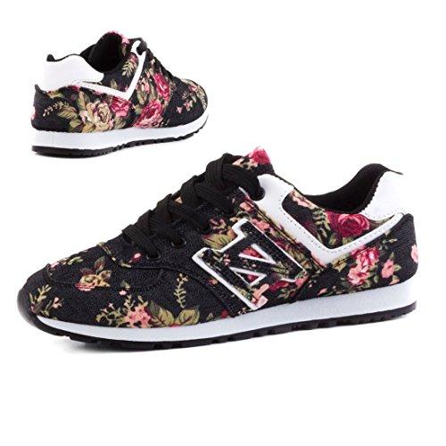 Trendige Damen Schnür Sneaker Freizeit Schuhe mit Blumenmuster Schwarz