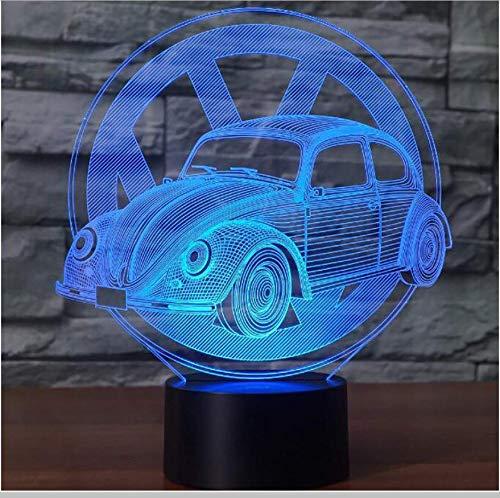 Preisvergleich Produktbild XINGXIAOYU Neuheit Led 7 Farben Ändern 3D Käfer Auto Modellierung Schreibtischlampe Illusion Nachtlicht Fahrzeug USB Touch Leuchte Nachttischdekor