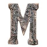 Gespout Vintage Massivholzrinde Holz Englisch Buchstabe Buchstabenzug Zahlen M-Q DIY Malen Dekorationen für Hochzeit Party Holzzahlen Geburtstag und Geburtstagsparty Dekoration(M)