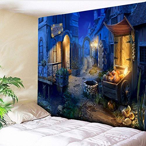 Guokee Tapisserie Kürbis Halloween Blau Charmant Stadt Wandbehang Tapisserien Halloween Party Decor Home Wohnzimmer Wandtuch-150 * 150cm