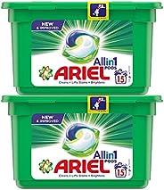Ariel All in 1 PODS, Washing Liquid Capsules Original Scent, 2 x 15 Count