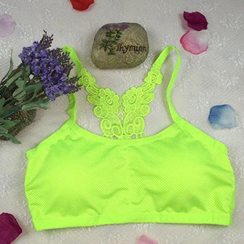 Sous-vêtements de sport, Ineternet Femmes Sexy Coton mélangé Haut Gilet Athlétique Gym Fitness Bra Confort Yoga Stretch Intimates Vert