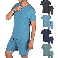 Light & Shade Men's Modal V Neck Top and Short Bottoms Pyjama Set, Blue, Small
