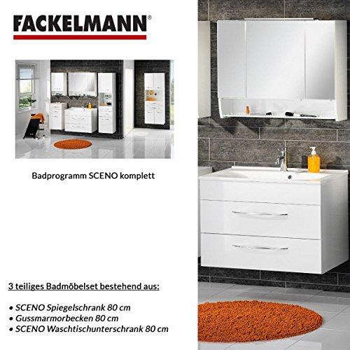 Badmöbel Set Fackelmann SCENO Waschbeckenunterschrank / Waschbecken / Spiegel