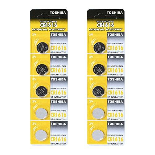 Toshiba Batterie au lithium CR1616 3 V Lot de 2 x (5) = 10 piles fabriqué au Japon