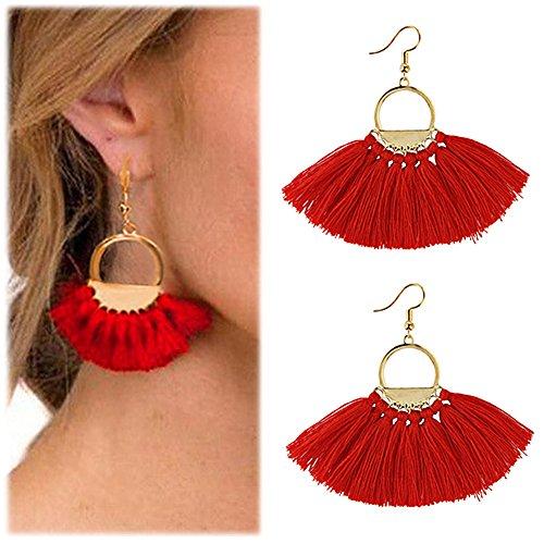 Suyi Frauen Quaste Ohrringe Böhmen Fächer Form Faden Quaste Anweisung Drop baumeln Ohrringe für Mädchen Dame Red
