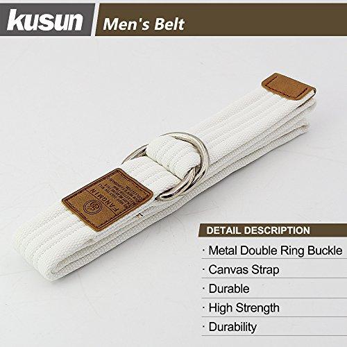 Image of Kusun White Canvas Belt Fashion Outdoor Metal Buckle for Men Women Strap