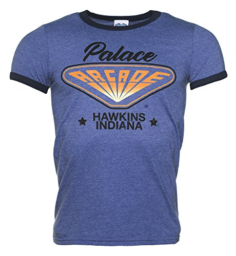 TruffleShuffle Mens Stranger Things Inspired Hawkins Indiana Arcade Heather Blue and Navy Ringer T Shirt