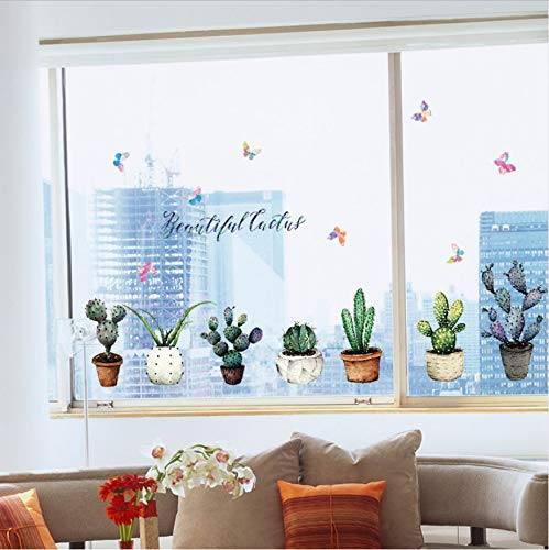 Namefeng Kaktus Topf Wandaufkleber Schrank Fensterbrett Aufkleber Muraux Muurstickers Home Decor Removable Wall Decal