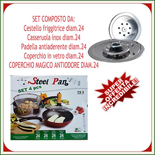 COPERCHIO MAGICO INOX + SET 4 PEZZI DIAM. 24