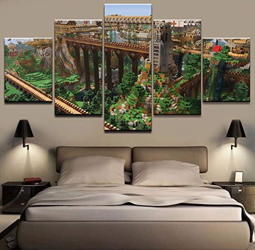 5 Stücke Wohnkultur Malerei Minecraft Landschaft Wandkunst Bilder Leinwand Gedruckt Moderne Kunstwerk Bilder Wand-dekor ()