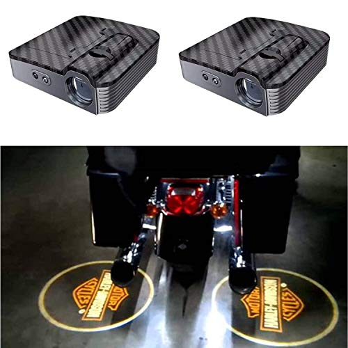 2 x LED Einstiegsbeleuchtung,Autotür Logo Licht Willkommen Laser Projektor Logo Licht Geist Schatten Licht Lampe Logos für Auto Alle Modelle (Licht Harley Schatten Davidson)