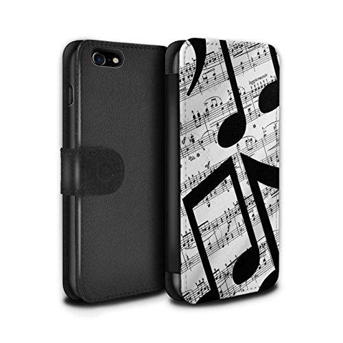 Stuff4 Coque/Etui/Housse Cuir PU Case/Cover pour Apple iPhone 8 / Tuiles Symétrie Design / Mode Noir Collection Drap Musique/Mélodie