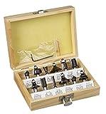 kwb Oberfräsen-Set, 12-teilig, (V-Nutfräser, Hohlkehlfräser u.v.m.) Hartmetall-bestückt, Anlaufkugellager inkl. Sechskant-Schlüssel und Holz-Koffer