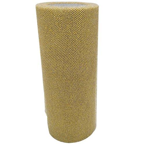 zer Tüllband Tischläufer Tischband Tüllnetz für Hochzeit Party Bankett Deko Handwerk 15cm x 22.5m pro Rolle (Golden mit Glitzer) ()
