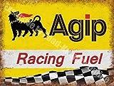 Agip Course Carburant Essence Huile Sport des motos Moteur course Garage Métal/Panneau Mural Métalique - 30 x 40 cm