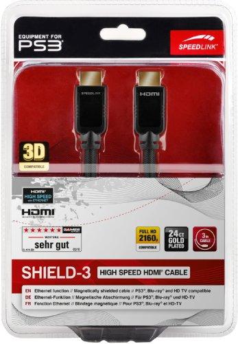 Preisvergleich Produktbild Speedlink Shield-3 HDMI Kabel für PlayStation PS3/PS4 (Unterstützt 4K Auflösung in 3D, 60 Fps, 2160p, HDMI 2.0, Ethernet, 3m)
