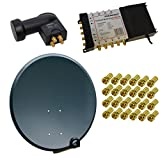 PremiumX Sat Anlage 80 cm Antenne Schüssel Stahl Anthrazit + Multischalter PXMS 5/8 Multiswitch Matrix 5-8 mit Netzteil für 8 Teilnehmer Sat Digital Switch Quattro LNB HDTV + 24 F-Stecker GRATIS