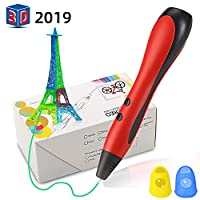 YISUN 3D Printing Pen Kit for Kids - LCD Speed Indicator PLA/ABS Filament Hand Print Drawing Tool, 1.2m USB Power Cable, Finger Protectors [Best Gift for Children to Create Creative Creations]