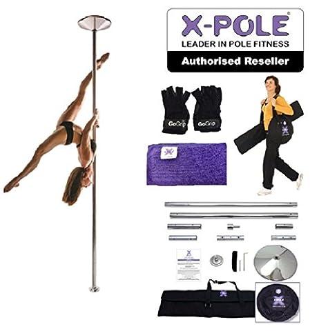 X POLE XPERT Chrome SET - Spinnerei und Static Pole - Professionelle pole dancing kit - Plus Free GoGrip Pole Handschuhe + X-Pole Putztuch (40mm)