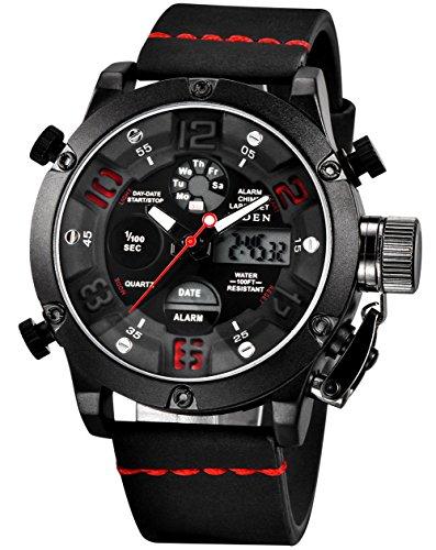 Herren Uhren Militär Chronograph Wasserdicht Datum Kalender Wecker Analog Digital Groß Sportuhr Männer Geschäfts Beiläufig Dual Display LED Licht Armbanduhr mit Schwarz Lederband (Rot)