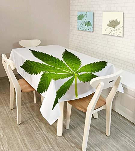 Shuangklei Wasserdichte Tischdecke, Nordische Minimalistische Grüne Blatttischdecke, Weihnachtsdekorationstischdecke, Stofftischdecke, 140X180Cm