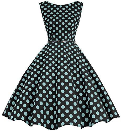 Bbonlinedress 50s Retro Schwingen Vintage Rockabilly kleid Faltenrock Black Blue Big Dot M