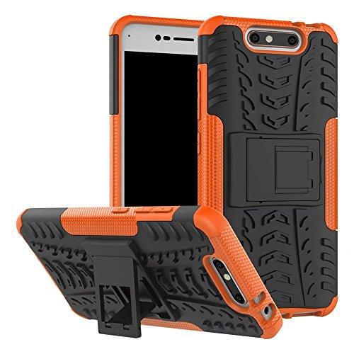 YHUISEN ZTE V8 Case, Hyun Pattern Dual Layer Hybrid Armor Kickstand 2 In 1 Shockproof Case Cover für ZTE Blade V8 ( Color : Black ) Orange