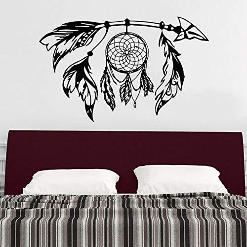 jiuyaomai Flecha Etiqueta de la Pared Atrapasueños Vinilo Etiqueta de la Pared Diseño Bohemio Dormitorio Decoración Dream Catcher s Símbolo Mural de Pared Negro 91x57cm