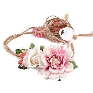 Amorar Frauen Mädchen Kopfschmuck Strand Geschenk Handarbeit Weben Lange Blume Hairband Crown Hochzeit Kranz Kopfschmuck Gürtel Dekoration,EINWEG Verpackung