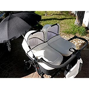 Cart Gemelar Complete. capazos + Chairs + Parasol + Accessories. Ivory + Black   8